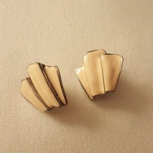 Jewelry - Symetrical Beige Clip-on Earrings